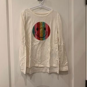 Gap double sided sequin smiley face shirt
